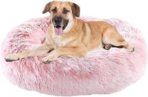 Calming Bed for Dogs Cats – Faux Fur Donut Cuddler Dog Beds for Medium Dogs, Modern Soft Plush Round Pet Bed, Indoor Heated Dog Beds Marshmallow Cat Bed, Gifts for Dogs Cats