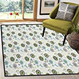 Floral Super Modern Area Rug,Bird and Butterfly Silhouettes with Flourishing Petals and Leaves Doodle for Residential or Commercial Use Apple Green Brown Teal 59'x71'