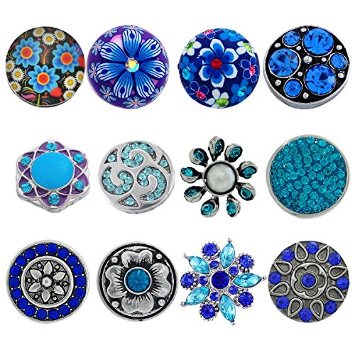 (Souarts Pack of 12pcs Mixed Blue Rhinestone Snap Button Jewelry Charms)