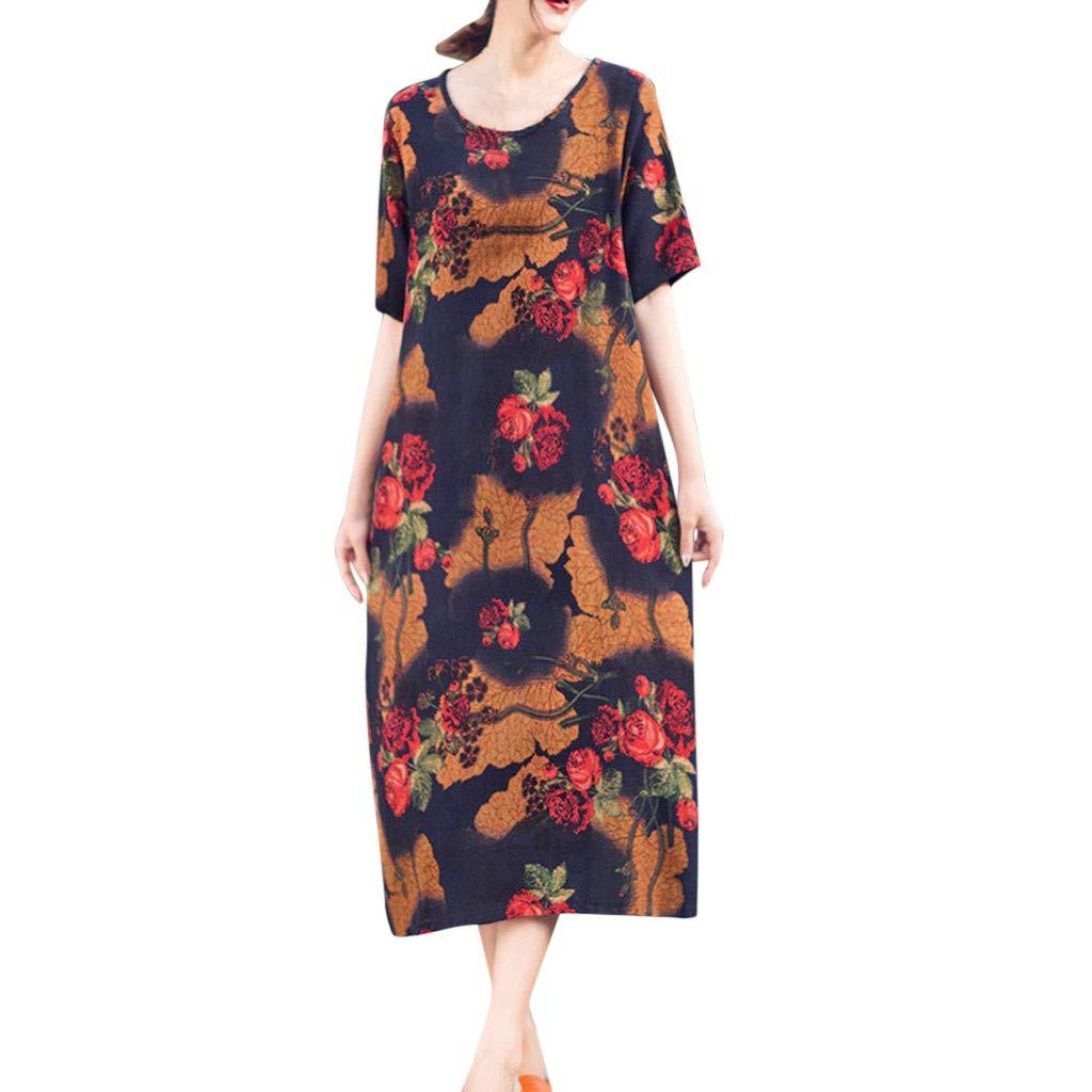 Women Loose Print Cotton Linen Casual O-Neck Summer Short Sleeve Pocket Dress,Tronet Fashion summer casual dresses