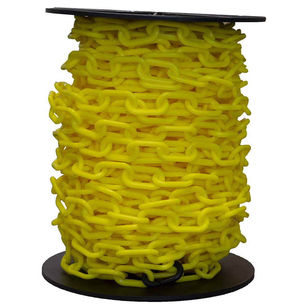 Mr. Chain Heavy-Duty Plastic Barrier Chain Reel, Yellow, 2-Inch Link Diameter, 100-Foot Length (51102) by Mr. Chain