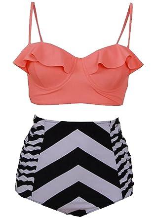 Generic Womens 2 Piece Swimsuits Floral Print Halter Bikini Set ...