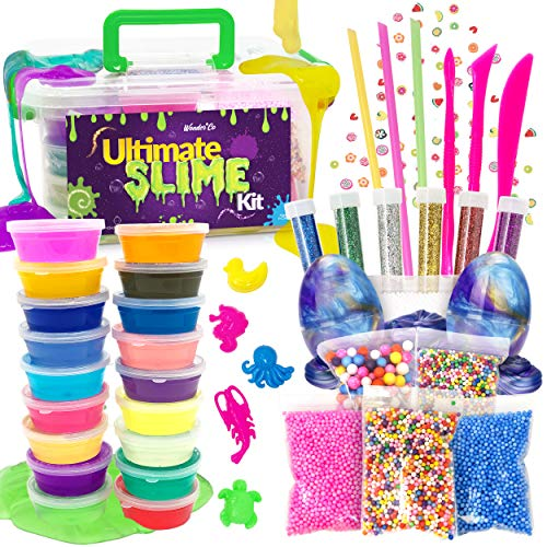 (WonderCo Slime Kit with Everything! The Ultimate Slime Kit with Pre-Made Slime for Kids. Dragon Eggs, 18 Colors, Cloud Slime, Unicorn Supplies and Glitter DIY Accessories for Boys and Girls)