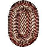 Cheap Super Area Rugs Santa Maria Braided Rug Indoor Outdoor Rug Washable Reversible Red Patio Deck Carpet, 10′ X 13′ Oval