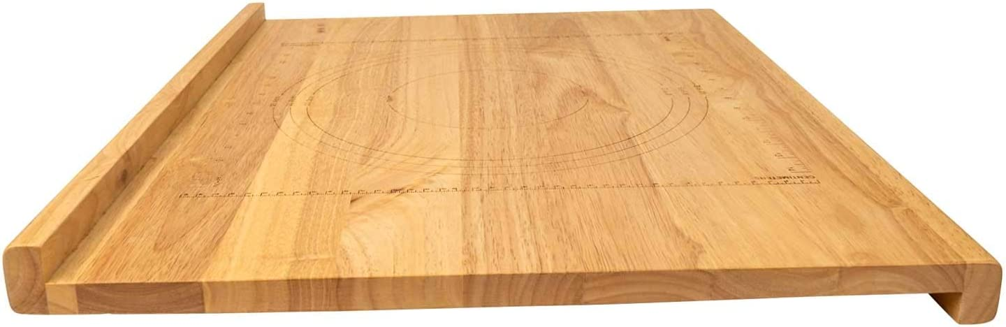 Amazon Com Zelancio Reversible Wooden Pastry Board 24 X 20 Pastry Board With Engraved Ruler And Pie Board Template Features Front And Back Counter Lip Kitchen Dining