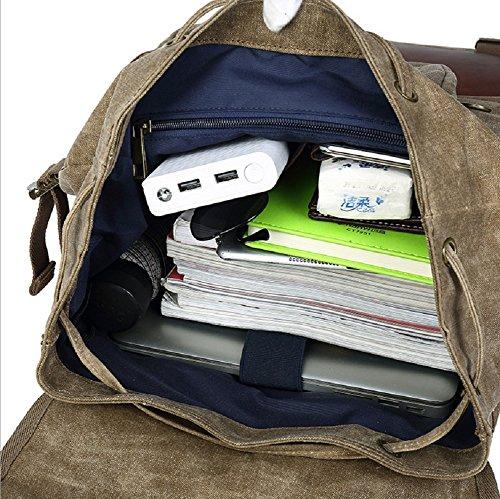 K-DD Canvas Rucksack Vintage Rucksack Canvas Rucksack Casual Daypacks Leder Laptop Rucksack für Männer Frauen , 1 1