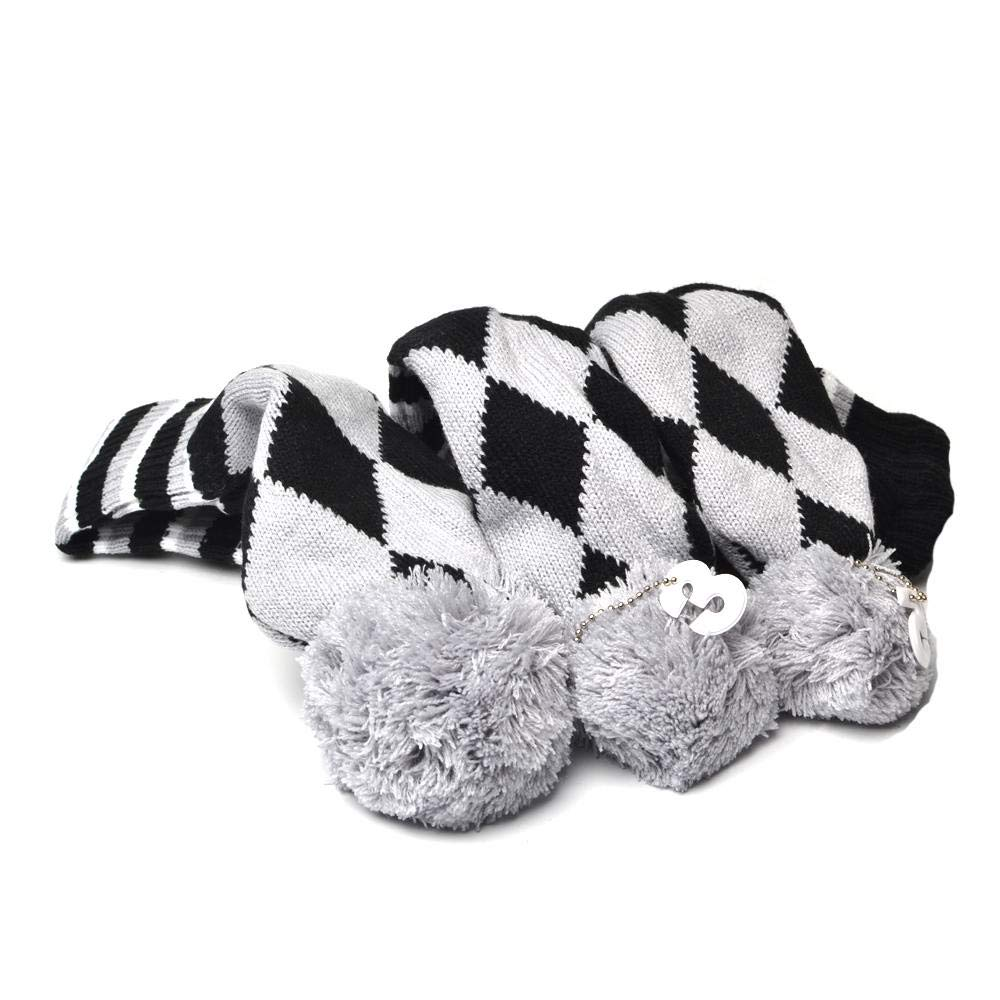 GOOACTION Drivers, Fairway Woods, Hybrids 3pcs Gray and Black Checkered Pattern Pom Pom Sock Set Vintange Knit Universal Golf Head Covers Fit for All Golf Brands by GOOACTION
