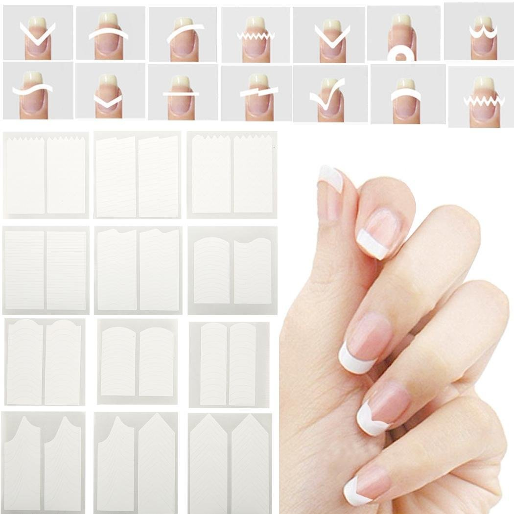 bulges Nail Stickers and Decals French Stencil Manicure Polish Stickers White Template Nail for Women and Girls Nail Art Tools and Equipment Fascinators