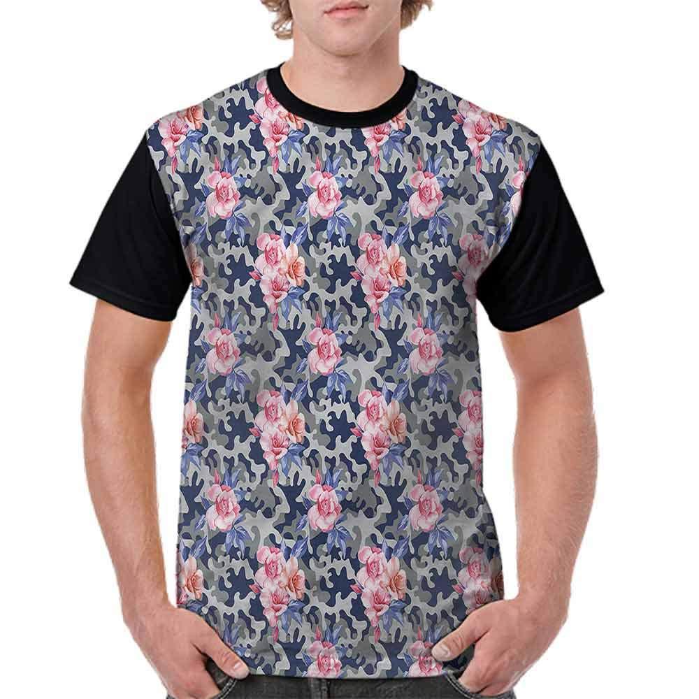 Casual Short Sleeve Graphic Tee Shirts,Pink Roses Retro Camo Fashion Personality Customization