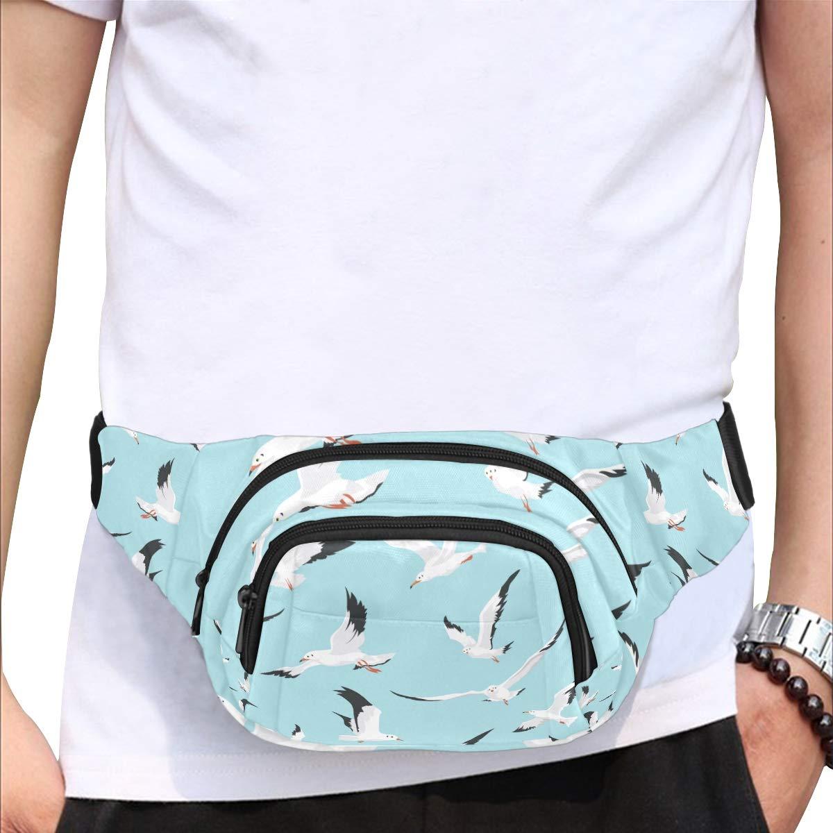 Nautical Birds Marine Seagulls Fenny Packs Waist Bags Adjustable Belt Waterproof Nylon Travel Running Sport Vacation Party For Men Women Boys Girls Kids