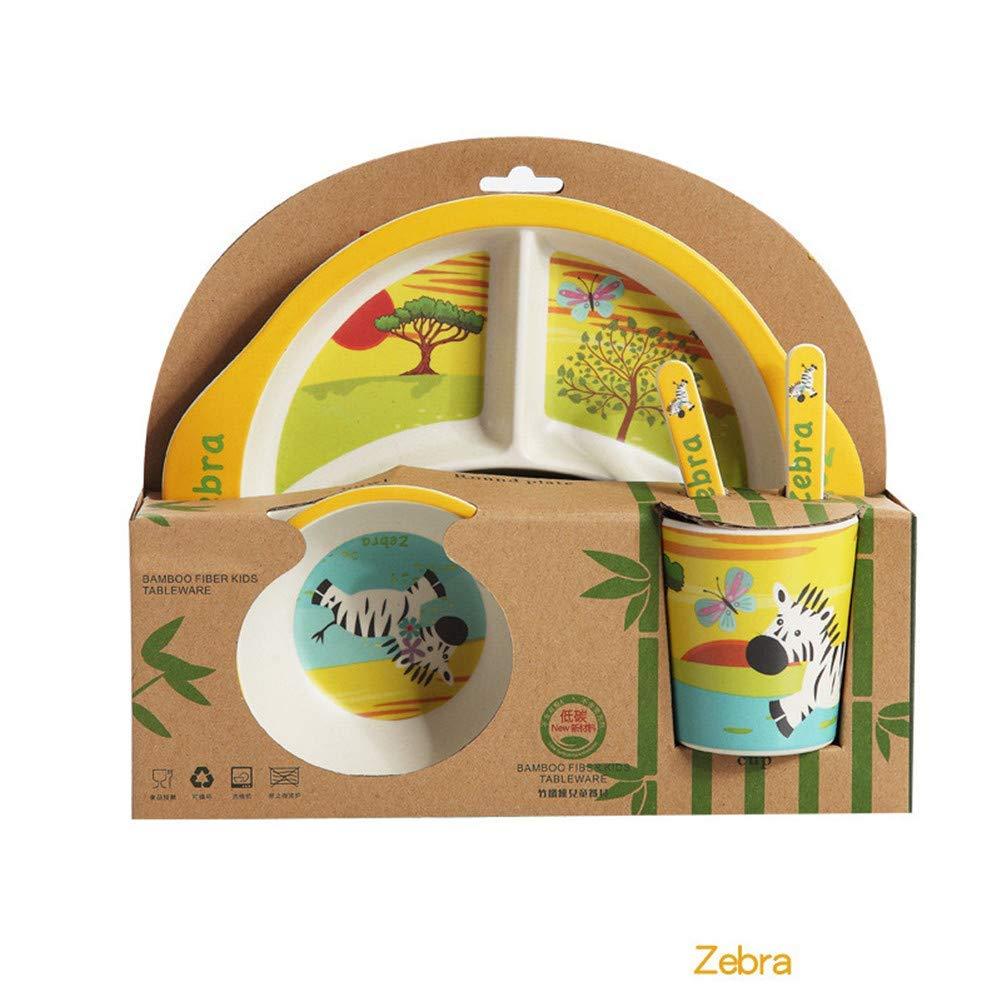 Kinue Exquisite Tea Cups Saucers Set Set Coffee Cup Children's Bamboo Fiber Cartoon Tableware Bowl 5-Pieces (Color : Zebra) by Kinue