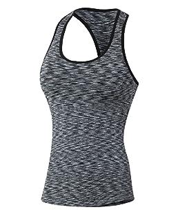 ZKOO Le donne Asciugatura Veloce Gym Sport Yoga Serbatoio Fitness Stretch Canotte Formazione Maniche Nero 2XL
