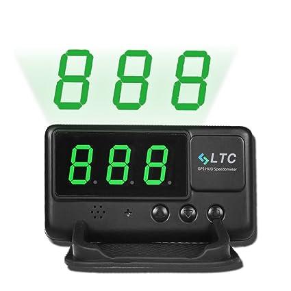 LeaningTech LTC Velocímetro Universal para Coche, Pantalla con visualizador HUD, GPS, Sistema OBD II, con función de Alarma, Aviso de Velocidad (C60)