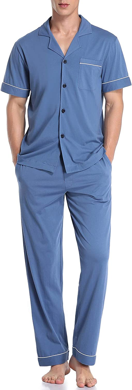 COLORFULLEAF Men's 100% Cotton Pajamas Set Button Down Sleepwear Short Sleeve and Sleep Pants Pjs