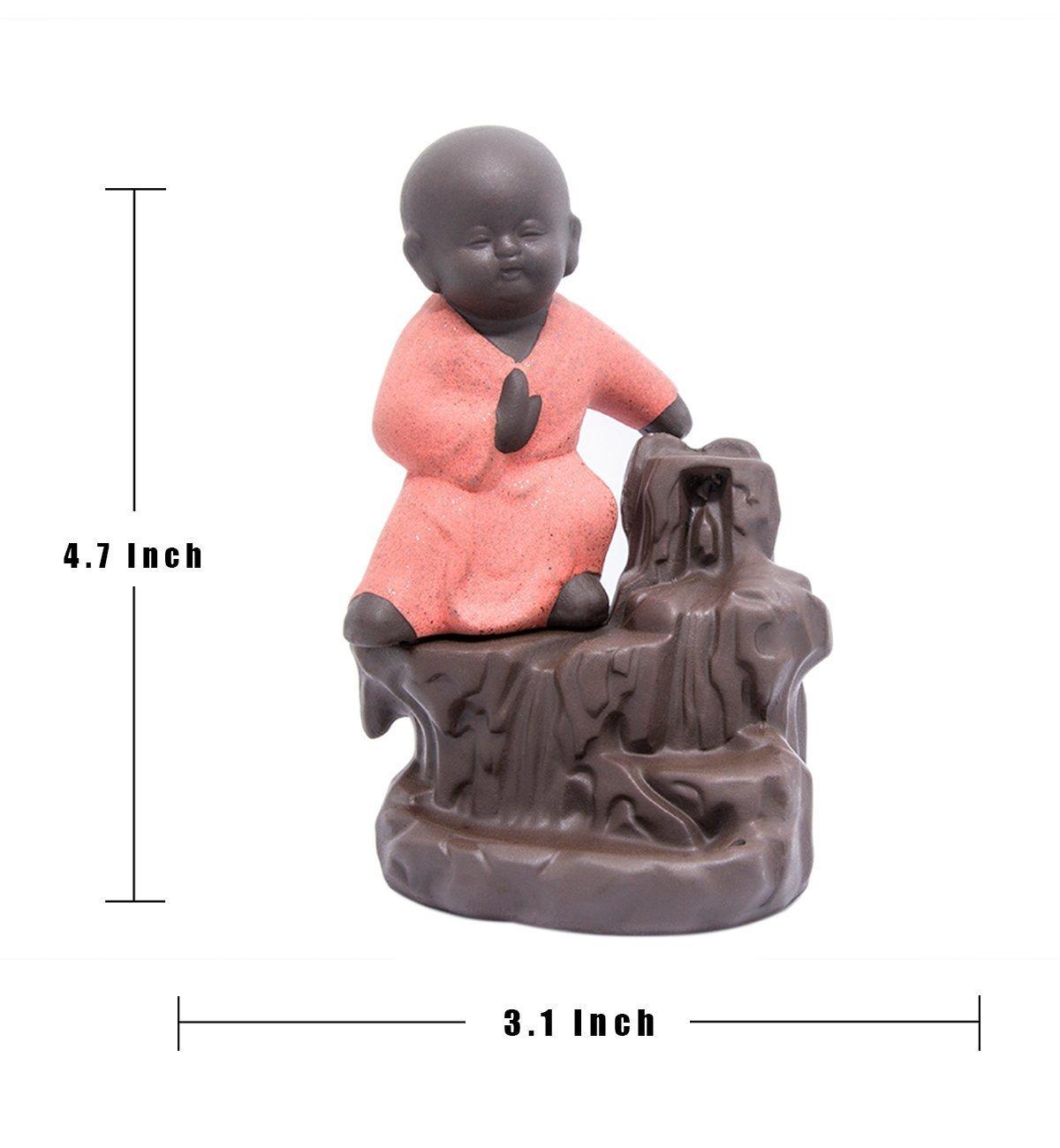 Incense Burner Backflow Tower Cones Sticks Little monk Holder Ceramic Porcelain Buddha Monk Ash Catcher By Pauline(Pink)