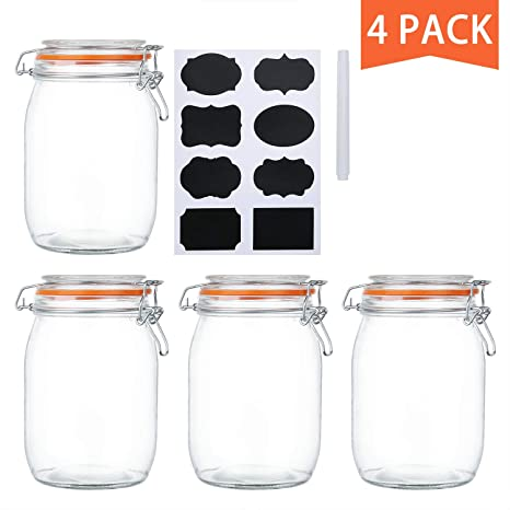 Amazoncom Encheng 32 Oz Glass Jars With Airtight Lids And Leak