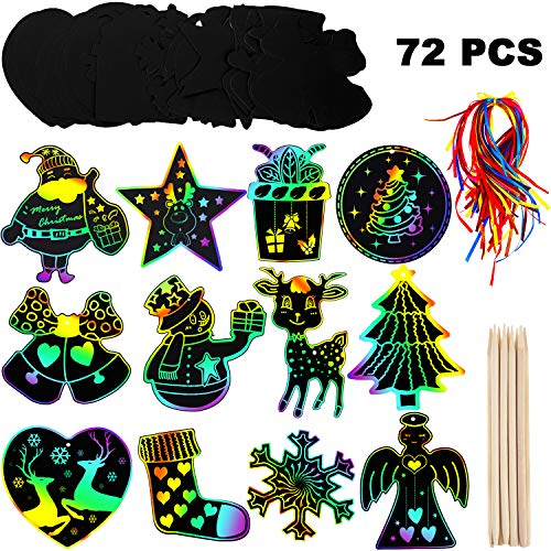 Mudder 72 Pieces Christmas Scratch Paper Christmas Scratch Craft Kit with Snowman Christmas Tree Design, 72 Pieces Ribbons and 12 Pieces Wooden Styluses for Xmas Crafts Art Decorations (Xmas Craft Easy)