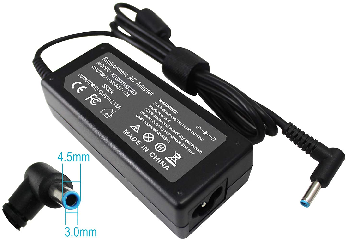 Gomarty 19.5V 3.33A PPP09C Replacement AC Adapter for HP Chromebook 14-q010nr 14-q020nr, Compatible Part Numbers:PA-1650-34HE PPP009A AD9043-022G2 709985-001 710412-001 709985-002