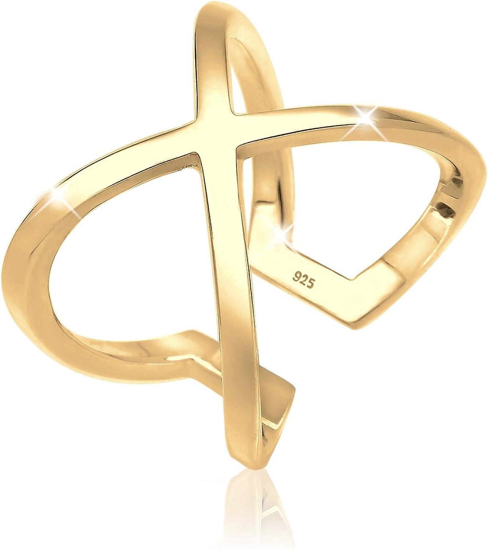 Elli Anillos para mujer con símbolo geométrico de cruz, de plata de ley de 925
