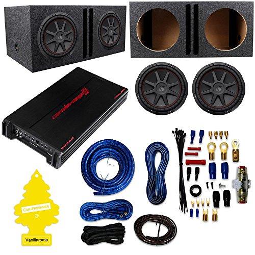 "2) Kicker 43CVR124 COMPVR 1600W 12"" Subwoofers+Vented Box+Monoblock Class D Car Amplifier+Amp Kit"