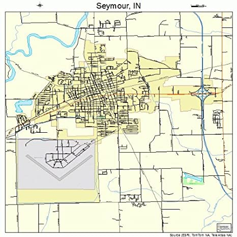 Amazon Com Large Street Road Map Of Seymour Indiana In Printed
