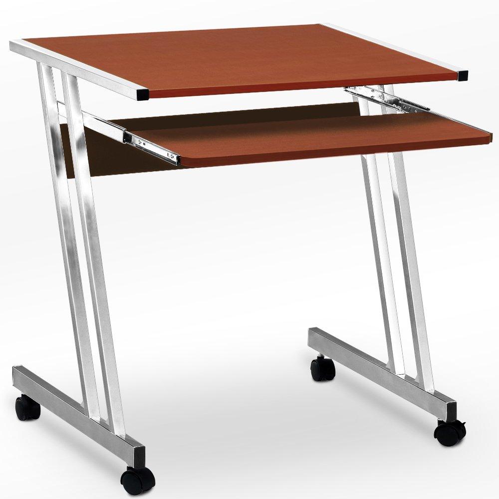 Computer Desk Table Worksation Sliding Keyboard 62 x 48 x 73 cm Black White Brown 4 Wheels Z-Shaped Movable PC Study Table Deuba