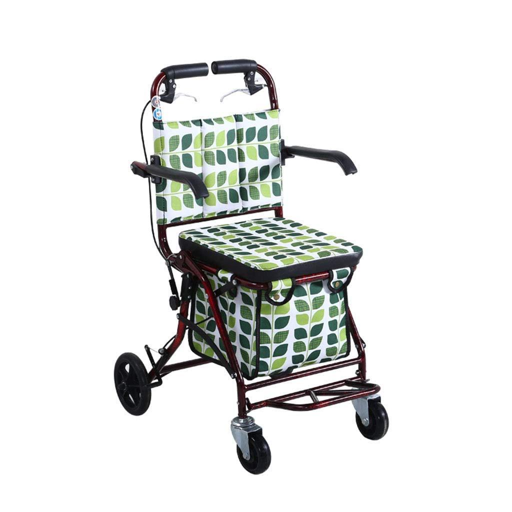 老人の買物車の座席は座ることができますステップバイステップのトロリー携帯用折ることによって四輪買物をすることができます  B B07RFQXN33