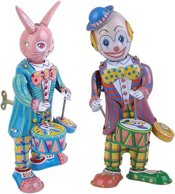 sharprepublic Pack De 2 Juguetes De Cuerda Clásicos Robot De Tambor De Conejo Y Payaso Coleccionable: Amazon.es: Juguetes y juegos