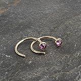 Gold Open Hug Hugging Earrings Rhodolite Garnet Stone 3mm