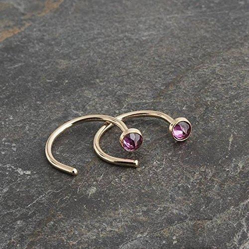 Gold Open Hug Hugging Earrings Rhodolite Garnet Stone 3mm by Fashion Art Jewelry