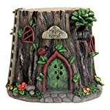 Cheap Exhart Tree Trunk Fairy House with Ladybug Garden Statue, Solar Powered, Fairy Gardening, Resin, 10″L x 10″W x 8″H