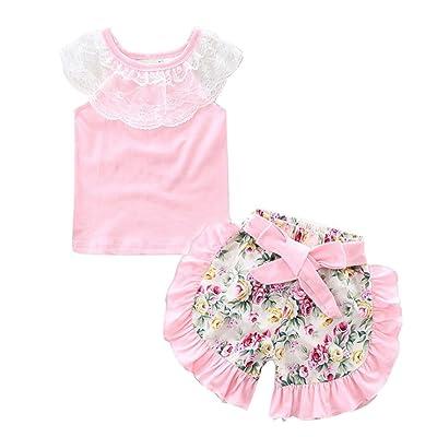 Iuhan Princess Baby Girl Lace Tops T-shirt+Floral Shorts Pants Outfits Set Clothes