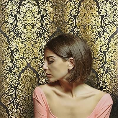QUADRUPLE ROLL 113.52sq.ft (4single rolls size) Slavyanski wallcovering washable Victorian pattern Vinyl Non-Woven Wallpaper black gray gold 3D textured stripes glitters metallic damask paste the wall