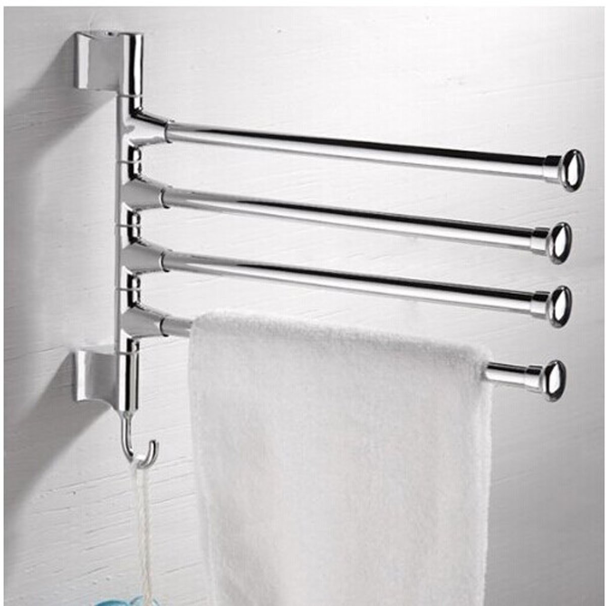Wall Mounted Towel Rack PHOEWON Swivel Towel Rail Chrome Stainless