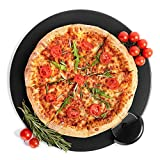Black Pizza Stone Set for Baking & Cooking Pizzas & Bread in Oven, Grill or BBQ - Round Stone 15'' with Pizza Cutter - Large Flat Ceramic Pan Cooks Pizza Evenly & Gives Crispy Crust