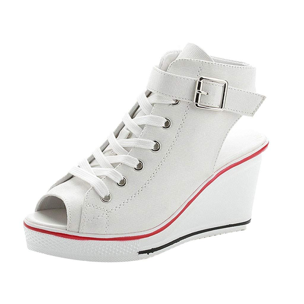 Claystyle Women Canvas High Shoes, Adjustable Buckle Open Toe Wedges Shoes Summer Fashion Sandals(White,US=5.5)