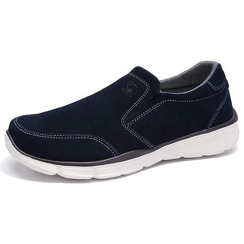 Boutique en ligne d3dd3 22a7b CAMEL CROWN Zapatos Casuales Hombre Mocasines Cómodo Slip-on Zapatillas  Ligero Calzado Hombre Sin Cordones Zapatos de Cuero para Caminar al Aire  Libre
