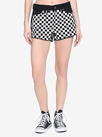 b2e4403ff25948 Image Unavailable. Image not available for. Color: Hot Topic Blackheart  Black & Checkered Chain Shorts