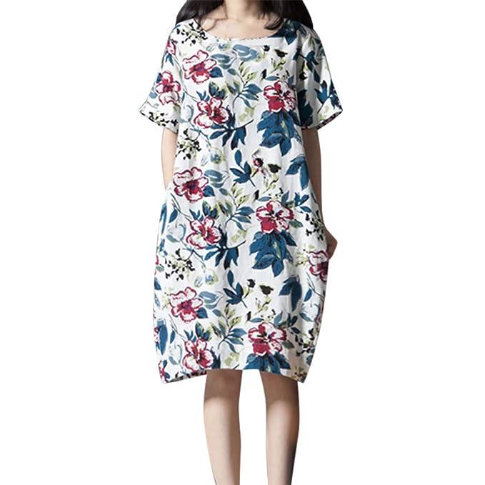 Amazon.com: NREALY Dress Womens Plus Size Casual Short ...