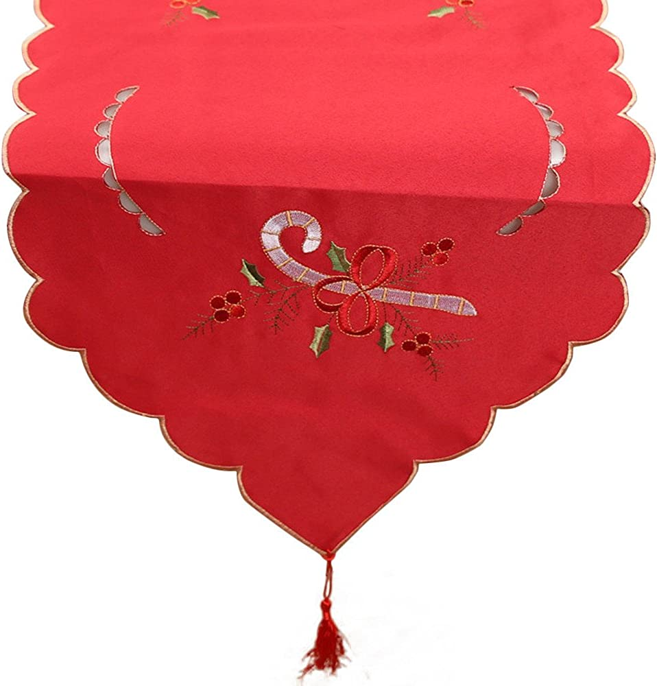 Elegant Tischdecke Stickerei Tischl/äufer Wei/ß Rot Tischband Tischfahne Tischdeko Mitteldecke Tischw/äsche Weihnachten Deko Tischdekoration Tischschutz Dresser Tapestry Dining Restaurant Party Decor