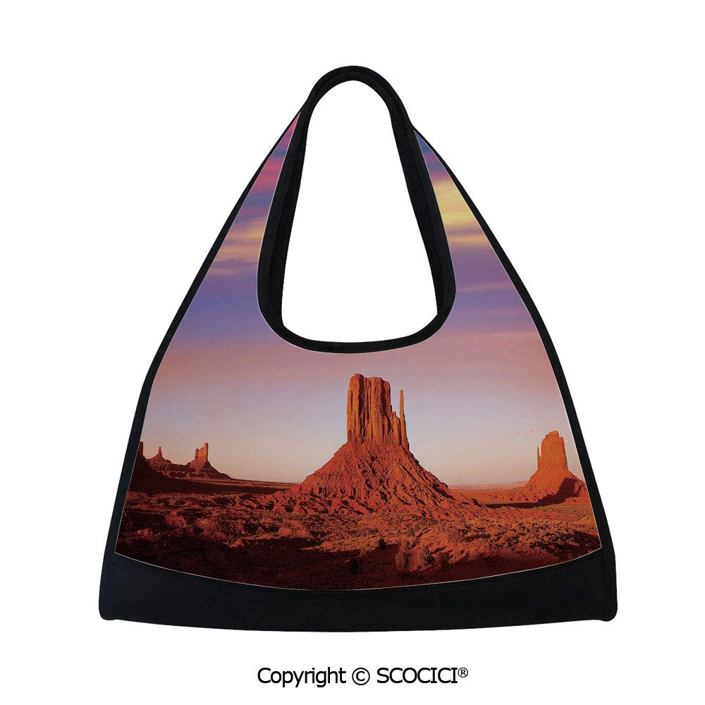 Fitness bag,Monument Valley West Mitten and Merrick Butte Sunset Utah Desert,Sports and Fitness Essentials(18.5x6.7x20 in) Dark Orange Pink Blue by SCOCICI