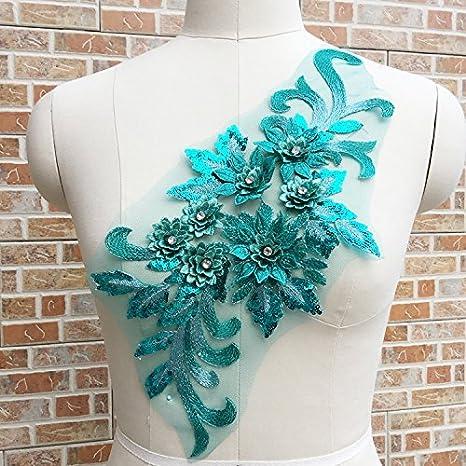 turquoise sequin embroidery patch lace applique motif dress irish dance costume