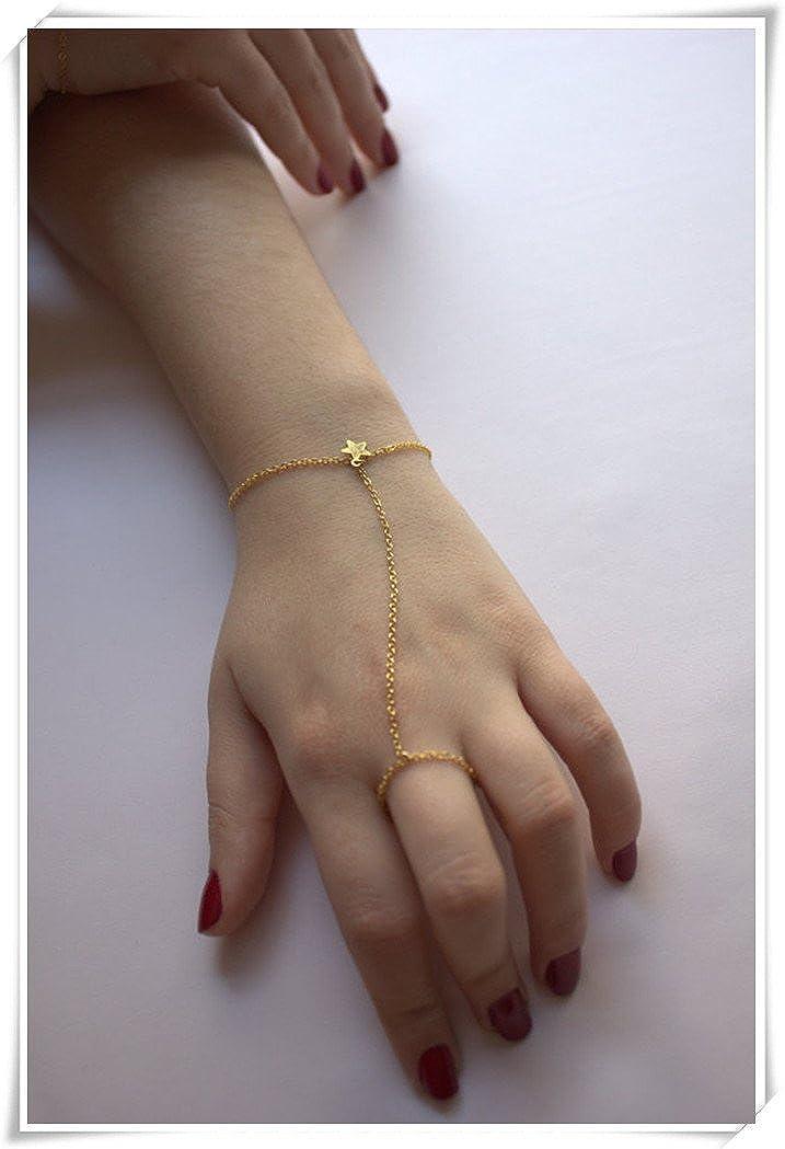 Cadena de mano, pulsera de dedo de oro, con pequeño anillo de estrella, puro hecho a mano.