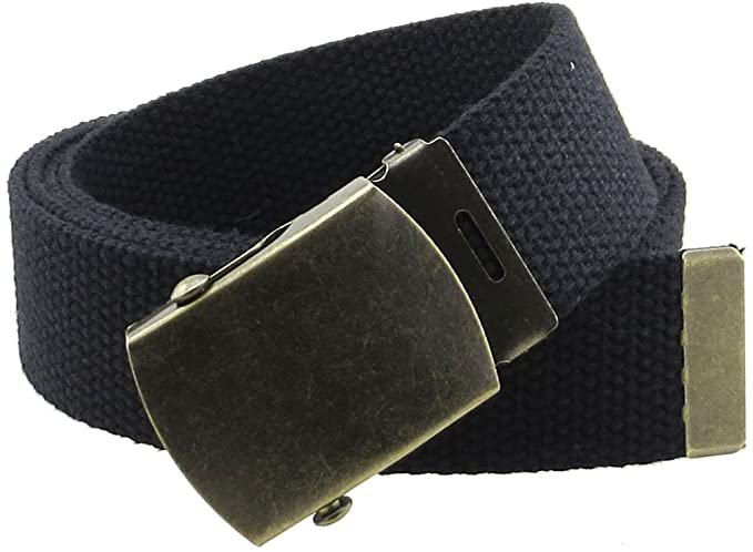 "Men/'s Military Web Belt Canvas Adjustable Style with Metal Buckle 50/"" Long"