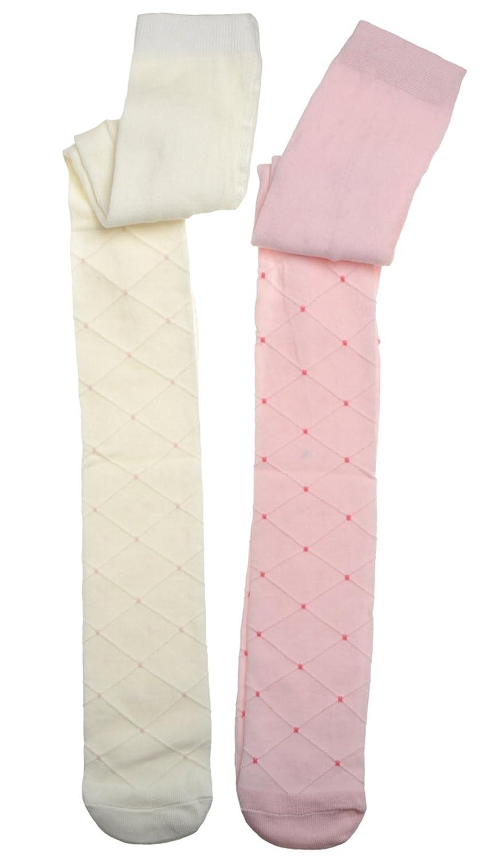 WB Socks Baby Girls Diamond Textured Design tights 2 pairs per pack
