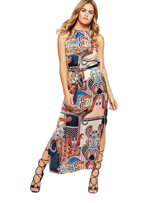 SaiDeng Ladies Totem Printing Sling Halter Taille Kleid