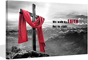 "Visual Art Decor Modern Wall Art Wood Cross We Walk by Faith Not by Sight Bible Verse Inspirational Picture Canvas Prints Poster Decoration Home Office Artwork (24""x36"")"