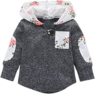Toddler Infant Baby Floral Hoodies with Pocket,Boys Girls Pullover Sweatshirt Hooded Tops Warm Clothes Autumn Winter