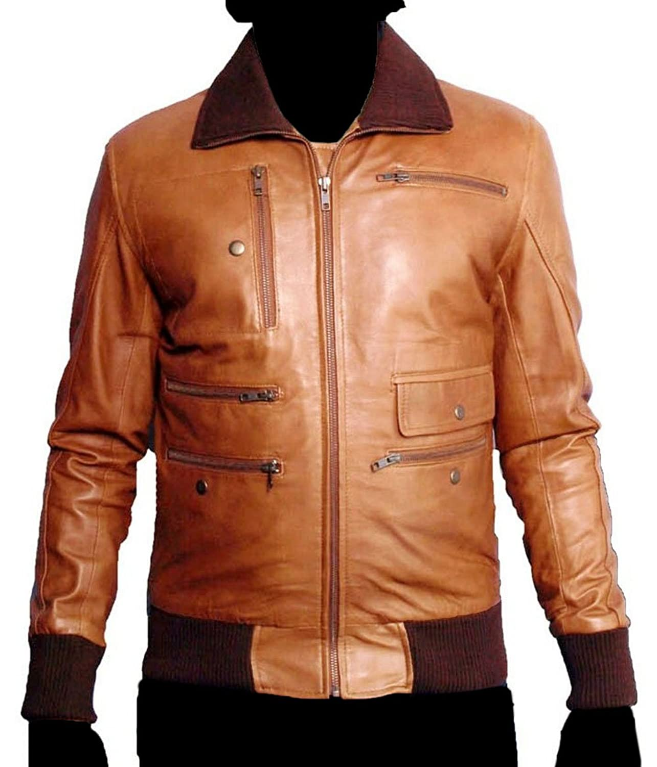 HLS Men's Ricci Soft Faux Brown Leather Jacket