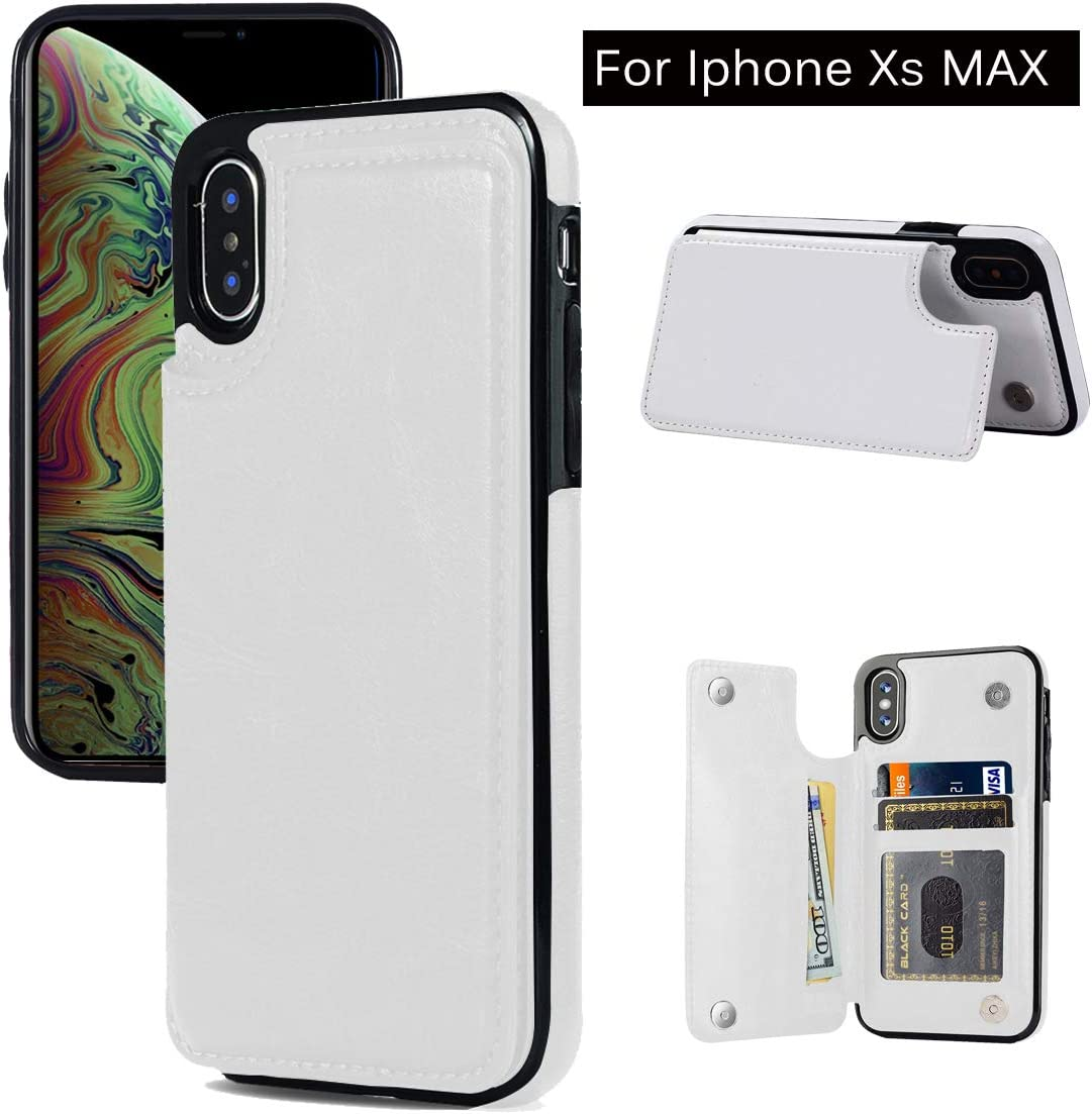iPhone Xs Max Wallet Case,iPhone Xs Max Case with Card Holder, JOYAKI Slim Leather Case with Card Slots Shockproof Protective Case and a Free Screen Protector for iPhone Xs Max, 6.5 inch-White